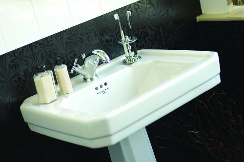 Perrin _ Rowe-« Deco One Hole Basin, Deco Pedestal, Contemporary Monobloc Basin Mixer with Crosshead Handles and Traditional Toothbrush Holder in Chrome