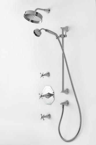 Perrin _ Rowe-« Deco Shower Set One with Crosshead Handles in Chrome (1)