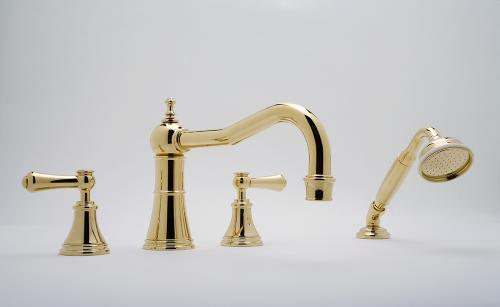Perrin _ Rowe-« Georgian Four Hole Deck Mounted Bath Set with Country Spout and Lever Handles in Gold
