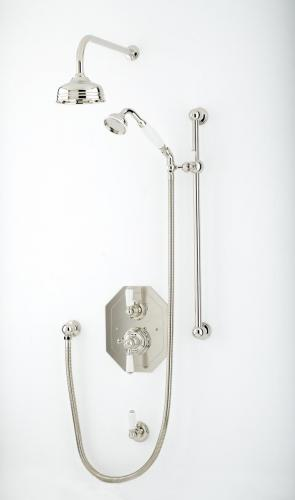 Perrin _ Rowe-« Traditional Shower Set with 5ÔÇØ Shower Rose in Nickel