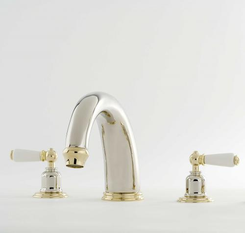 Perrin _ Rowe-« Traditional Three Hole Deck Mounted Bath Filler with 255mm Spout and Lever Handles in Nickel and Gold (1)