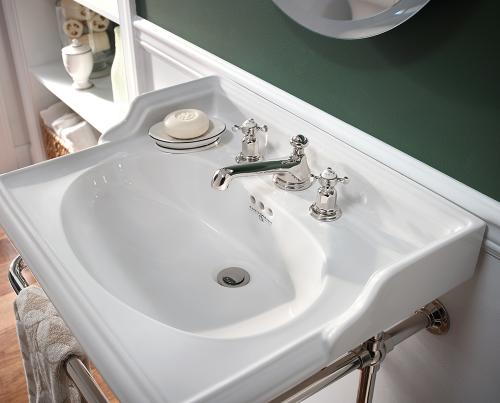 Perrin _ Rowe-« Victorian Three Hole Basin and Traditional Three Hole Deck Basin Mixer with Low Profile Spout and Crosshead Handles in Chrome